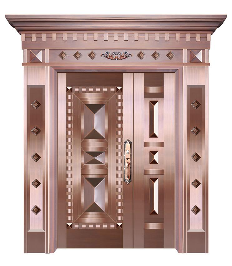 庭院子母实板铜门