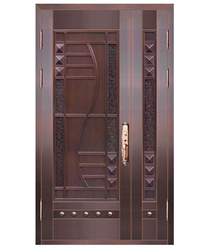 家用子母实板铜门