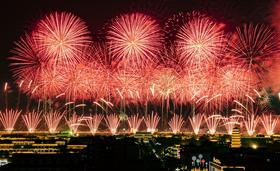 """""""壯麗七十年,闊步新時代""""正定縣慶祝建國70周年大型焰火晚會"""